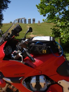 Moto Guzzi Norge named Red Molly in front of Foamhenge